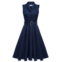 5 Colors 2016 New Women Vintage Dresses Summer Elegant Solid Color Dress Sleeveless Party Dresses Tunic Dress With Belt