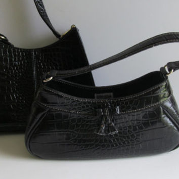 Liz Claiborne Purse Gator Print Designer Purse  Pocketbook Designer Liz Claiborne Handbag Vegan Black Handbag Alligator Print Purse