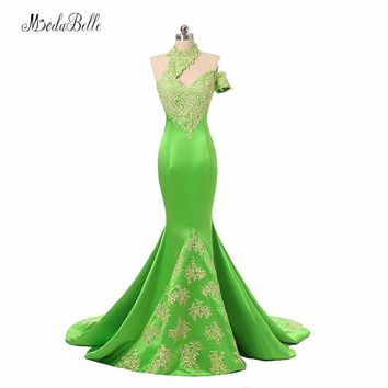 modabelle High Neck Ladies Formal Dress Women Lace Abiye 2017 Dubai Gold Applique Green Mermaid Evening Dresses Long Party Dress