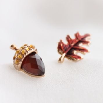 Acorn & Leaf Earring Set