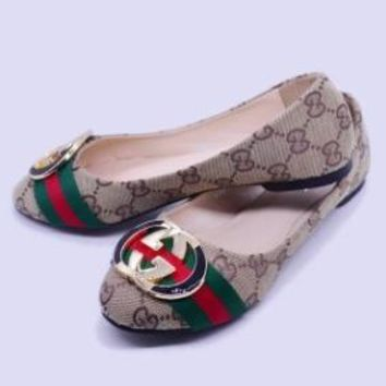 Gucci Lady Shoes Fashion Women Shoes Comfort flat shoes Beige