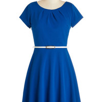 ModCloth Americana Mid-length Cap Sleeves A-line Skilled and Shining Dress