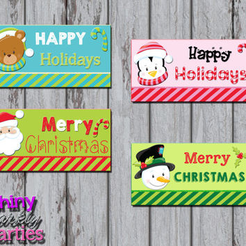 CHRISTMAS TREAT Bag TOPPERS - Holiday Treat Bag Toppers - Diy Christmas Gift Ideas - Christmas Favor Bag Toppers  Instant Download snowman