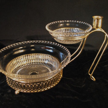 Vintage Depression Clear Glass Two Tiered Chip N' Dip Set with Gold Plated Stand & Candle Holder