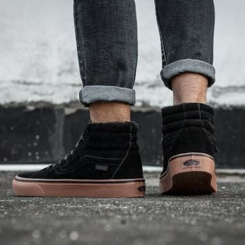 LMFON Vans Sk8-Hi F178 High Top Leather With Fur Warm Casual Sneakers Sport Shoes