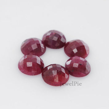 Loose Gemstone Cabochon Ruby Faceted Round 10x10 AAA Grade - 5 Pcs.
