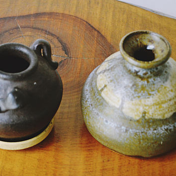 Miniature Stoneware Urn And Jug, Three Handled Pot, Small Pitcher, Collectible Stoneware