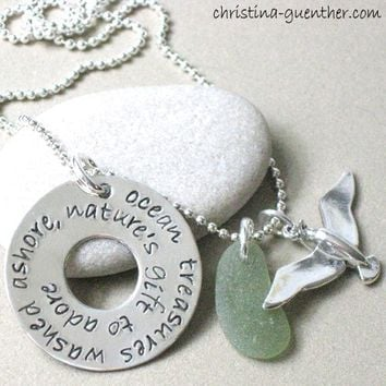 OCEAN TREASURES - hand stamped sterling washer, sterling seagull and green seaglass necklace