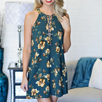 *  Kaelyn Halter Shift Dress with Lace up neck : Teal Floral