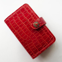 iPhone Wallet - iPhone 4 / 4s Crocodile Pattern Leather Case in Red with Snap - Handmade and Hand Stitched - Free Monogram