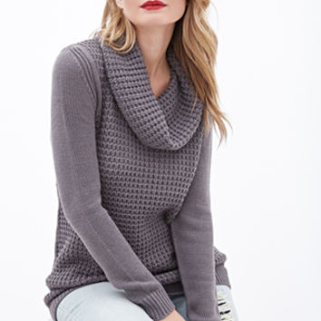 Mixed-Knit Cowl Neck Sweater