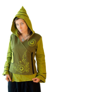 Elf  Hoodie with Pointed  Hood - Pixie -  Cotton Flece Hoodie for women - Psy Jacket