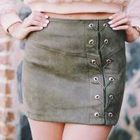 Lace It Up Skirt Olive