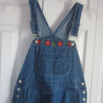 Womens Denim Overalls, Denim Dungarees, Hipster Bib Overalls, Womens Medium , Embroidered Flowers, Hippie Clothing, Denim Romper