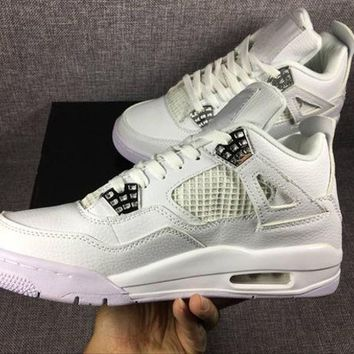 PEAPON1 Air Jordan retro 4 pure money royalty thunder bred white cement men women basketball shoes sneakers