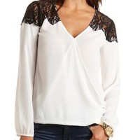 Lace & Chiffon Wrap Top by Charlotte Russe - White Combo