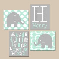ELEPHANT Boy Nursery Wall Art, CANVAS or Prints, Mint Gray Baby BOY Elephant Decor, Dream Big Little One, Polka Dot Set of 4 Elephant Decor