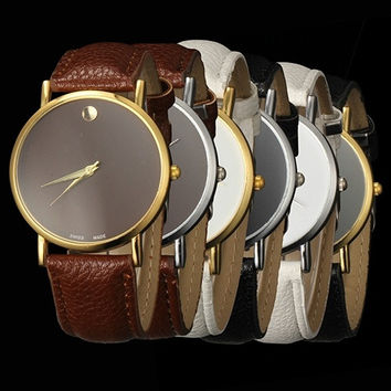 New Fashion Women's Men's Geneva Minimalism Leather band Wrist Watch = 1956531332