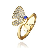 DUMAN 18K Yellow Gold Plated White Butterfly Ring Swarovski Elements Crystal, Size 8