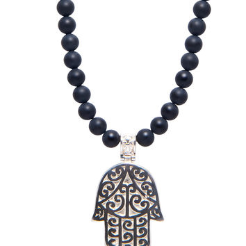 Men's Beaded Necklace with Matte Onyx and Silver Hamsa Hand