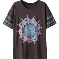 ROMWE Floral Print Loose T-shirt