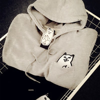 17Again Free Shipping Women Winter Clothing Japanese Cute Clothes Sweatshirts Tumblr Ulzzang Fleece Hoodie Hooded Sweatshirt
