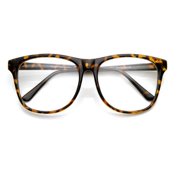 Retro Large Round Horned Rim Indie Hipster Fashion Glasses 8790