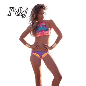P&j Sexy Aztec High neck cropped top swimsuit  junior Bikini Brazilian Retro Print Biquini Bodycon Padded Halter Swimming Suit