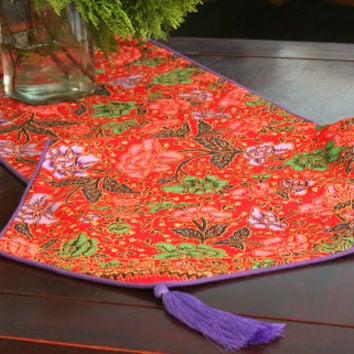 Table Runner, 20 inch Cushions Or 16 inch Pillows, Bohemian Style Indonesian Batik Decor, Red With Lavender, and Green