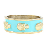 London Edge Turquoise Skulls Bangle