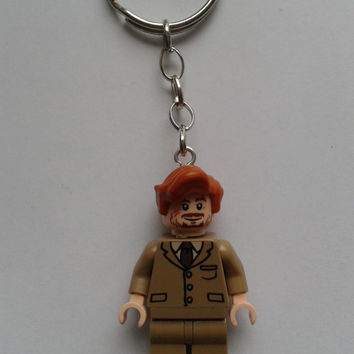 Harry Potter Professor Lupin minifigure keychain keyring   made with LEGO®  bricks
