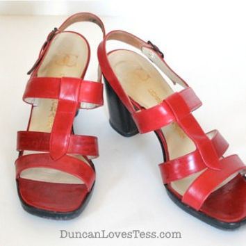 Vintage 60s Sandals / Red Leather Shoes / Square Toe High Heels / Spring Summer / 60s Fashion