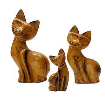MCM Cats Carved Wood Set Of 3 Vintage Danish Modern Mid Century Decor Side Turned Head Feline Figurines