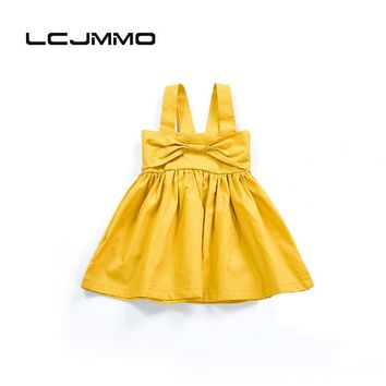 LCJMMO Baby Girls Dress New Casual Solid color Baby Suspender dress Camisole Princess Dress Cotton Halter pleated Clothing