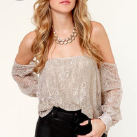 LULUS Exclusive Attagirl Off-the-Shoulder Taupe Lace Top
