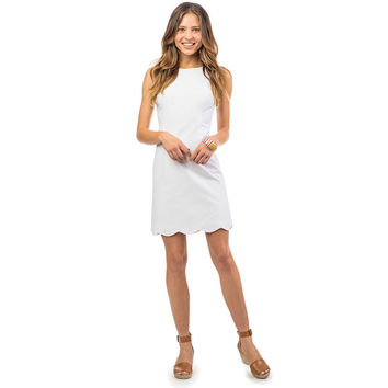 Charleston Wavy Scallop Dress in Classic White by Southern Tide