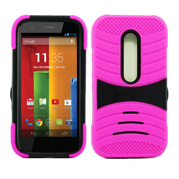 Motorola Moto G 3rd Gen Hybrid Silicone Case Cover Stand Pink
