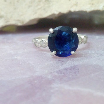 SALE! Vintage ring,Sterling silver ring, sapphire ring,energy ring,navy blue ring,round ring,customize rings
