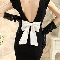 Black Vintage Flat Collar Backless Body-con Mini Dress