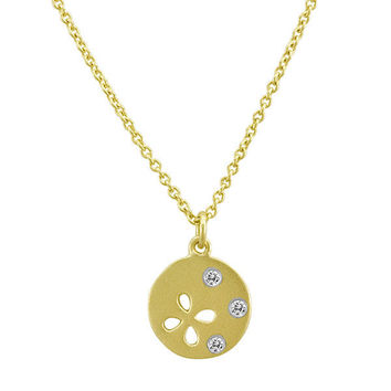 Flower Disc Necklace with Pave Diamonds