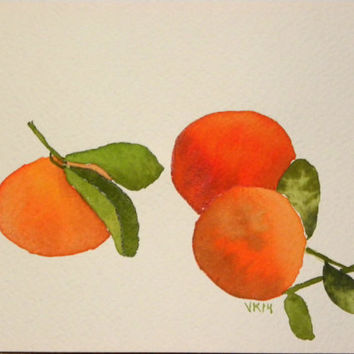 Mandarines. Watercolor, original. Unique kitchen decoration. Fruit home decor. Finnish art. Scandinavian art. Food illustration. Orange.