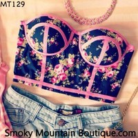 Midriff Bustier Top With Multi Color Floral Pattern Size S/M - MT129 - Smoky Mountain Boutique