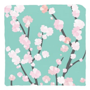 Throw Pillow Cover - Cherry Blossoms Blue | Cover Only