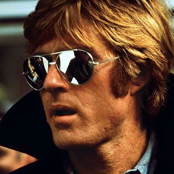 Retro Classic Celebrity Robert Redford Mirrored Lens Metal Aviator Sunglasses 1375