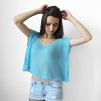 FREE SHIPPING Pure cotton crop top Cyan knit top Boho lace top Blue womens short blouse Crop tank Spring Summer tank Sleeveless crop blouse