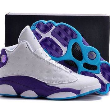 PEAPONVX Jacklish New Air Jordan 13 Hornets White Purple For Sale