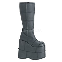 """Stack 301 Cyber Goth Gogo  7"""" Stacked Platform Knee High Boot"""