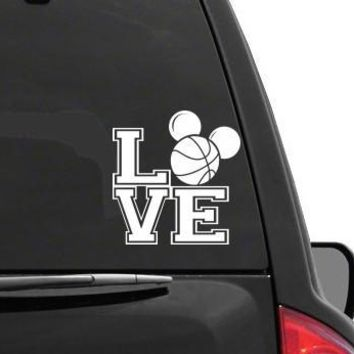 Auto Sticker - Auto Decal MICKEY MOUSE EARS LOVE BASKETBALL Vinyl Decal Sticker DISNEY for Car Truck SUV Boat Trailer Laptop iPad