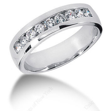 0.75ct Round Diamond Men's Wedding Ring 14kt White Gold