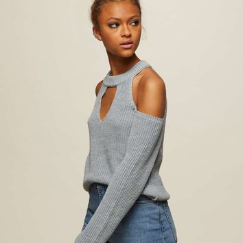 Grey Cross Strap Knitted Jumper - View All - Apparel